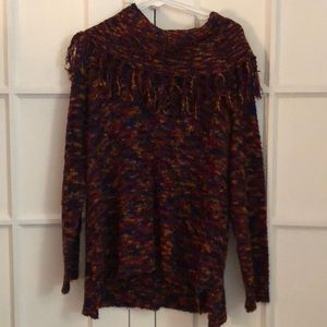 EUC Ruby Rd. multicolor fuzzy fringe sweater XL